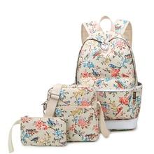 Брендовые женские парусиновые комплект Bagpack школьные сумки для девочек-подростков дорожная сумка для ноутбука птица и цветочные печати рюкзаки водонепроницаемый