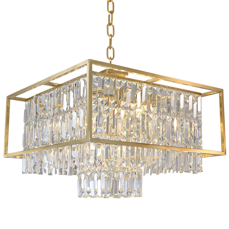 Post Modern Real brass K9 Crystal Luxury pendant lights dining room Foyer bedroom Modern simple hotel decoration LED droplight