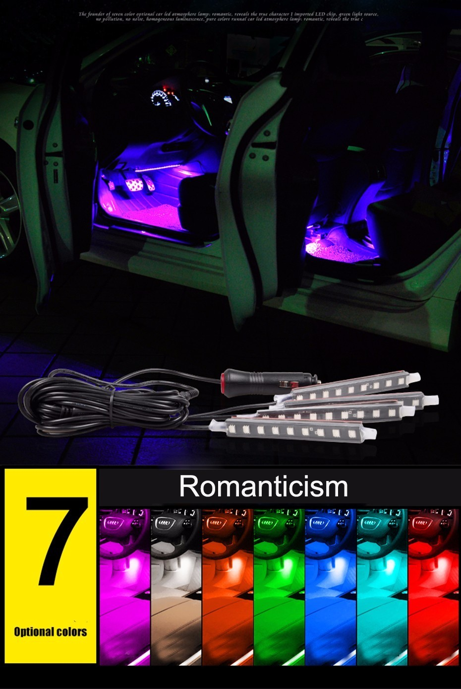 Car-styling of Wireless Remote-control Music and Voice Control Car RGB LED Neon Interior Light with 9LED strap lamp car styling wireless remote music voice control interior floor foot decoration light cigarette led atmosphere rgb neon lampstrip