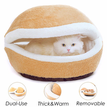Pet Bed Removable Hamburger Dog House Short Plush Small Cat Sleeping Bag Sofas Mat Warm Puppy Kennel Nest Cushion Products