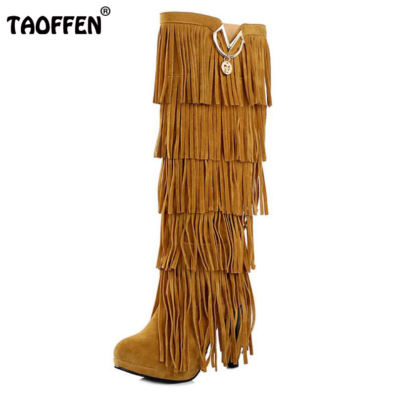 TAOFFEN Plus size 32-43 New Flock Winter Fur Women boots High heels Knee boots Fringe Tassels Black Brown Red Yellow Beige Punk brand new fashion black yellow women knee high cowboy motorcycle boots ladies shoes high heels a 16 zip plus big size 32 43 10
