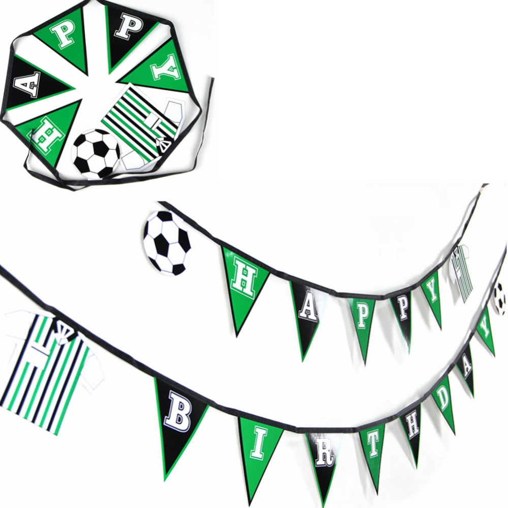 Fotball Tema Gratulerer med dagen Banner Flagg Banner Sport Tema Party Banner Fotball Garland for Kid's Room Boys Photo Prop