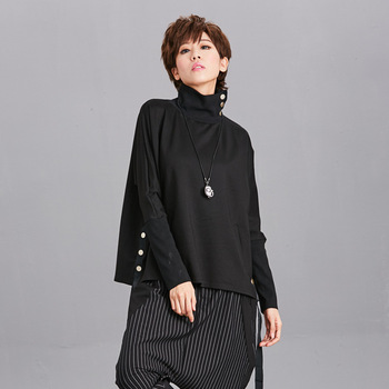 [EAM] Solto Fit Black Ribbon Split Sweatshirt New High Collar Manga comprida Mulheres Tamanho Grande Moda Maré Outono Inverno 2019 OA879 1