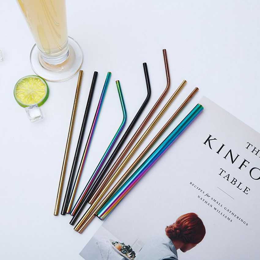 2pc/4pcs Reusable Metal Drinking Straws Colorful Stainless Steel + Cleaning Brush 2
