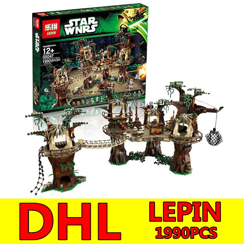 DHL LEPIN Star Wars 1990pcs Ewok Village Building Blocks Juguete para Construir Bricks Toys Compatible Children Toy Gift lepin 02012 city deepwater exploration vessel 60095 building blocks policeman toys children compatible with lego gift kid sets
