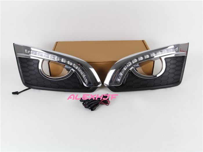 July King LED Daytime Running Lights DRL with Fog Lamp Cover, LED Fog Lamp case for Chevrolet Captiva 2014~ON 1:1 replacement top cowhide sew on genuine leather steering wheel cover for chevrolet captiva at