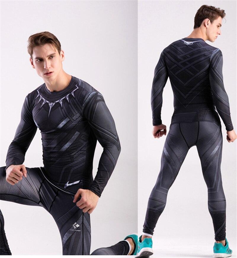Bărbați Skinny compresie seturi de alergare Panther negru Superhero - Imbracaminte sport si accesorii