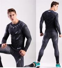 Men Skinny Compression Running Sets Black Panther Superhero Printing Crossfit Bodybuilding Fitness TShirt Compression Pants Sets