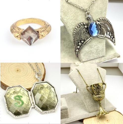 Lord Voldermort Horcrux 4PCS Sorcerer Stone Ring Diadem Hufflepuff Cup Locket Halloween New Year Christmas Gift Collectible