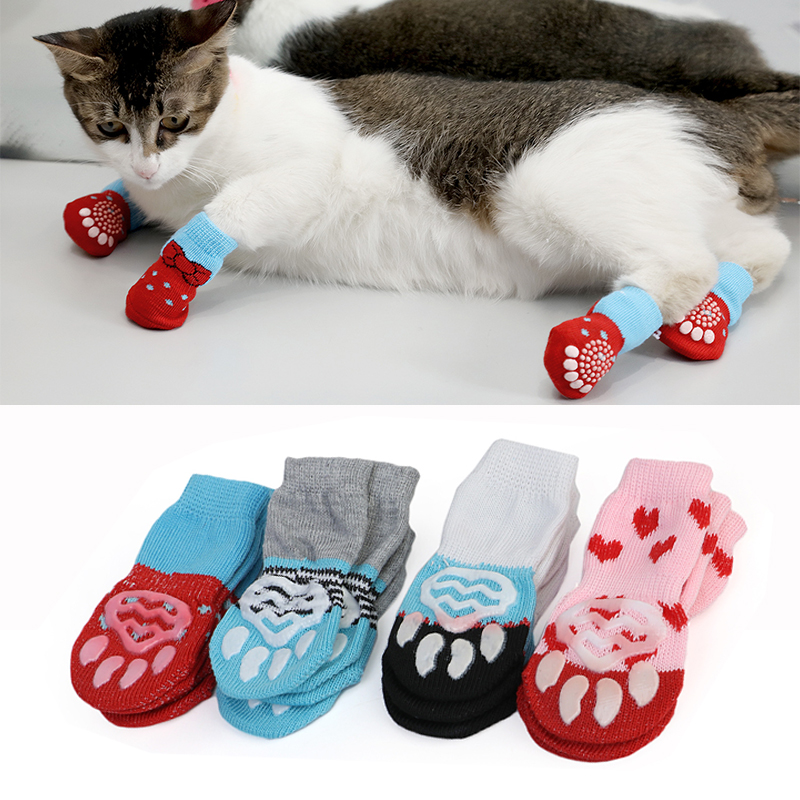 4pcs Cute Puppy Dog Shoes Anti-Slip Knit Socks Small Dogs Cat Shoes Chihuahua Boots For Winter Indoor Wear Slip On Paw Protector