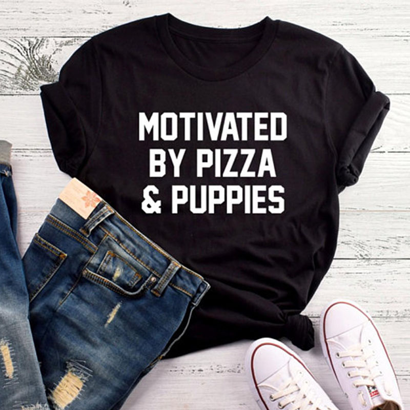 EnjoytheSpirit Motivated By Pizza & Puppies Tees Women Funny Gifts Ladies Funny Graphic Tshirt Crewneck Shirt Soft Cotton