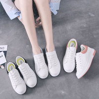 Women's Vulcanize Shoes PU Lace UP Off White Shoes Rubber Women Casual Shoes Women Sneakers Trend Antiskid Heighten Shoes Youth