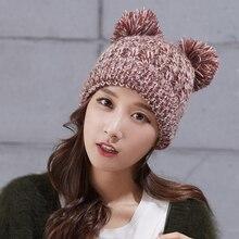 Симпатичные собаки Уши Смешные Шапочки Девушки Женщин Зима Теплая Ручной Вязки Hat Cap Подарок
