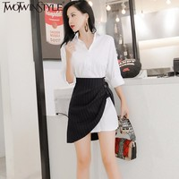 TWOTWINSTYLE Office Lady Two Pieces Set White Mini Shirt Dress Women Striped Short Irregular Skirt Female