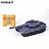 1:28 RC Tank 27Mhz Infrared RC T90 Tank Remote Control Tank Remote Toy with Musical Flashing for Child Kids Boy RC Model Tank