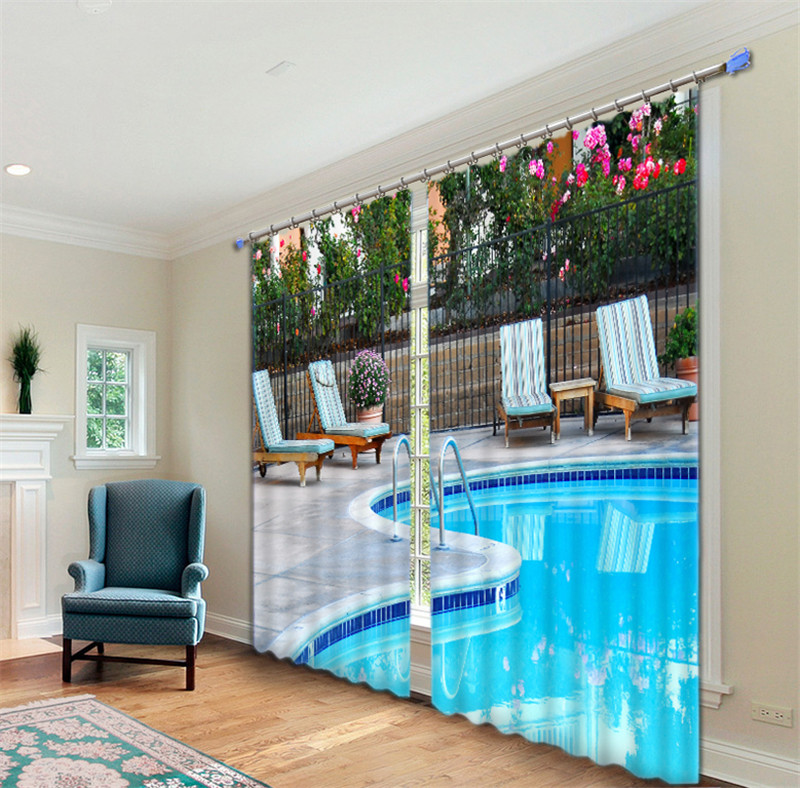 Swimming pool Luxury Window 3D Curtains set For Bed room Living room Office Hotel Home Wall Decorative Drapes Wall tapestrySwimming pool Luxury Window 3D Curtains set For Bed room Living room Office Hotel Home Wall Decorative Drapes Wall tapestry