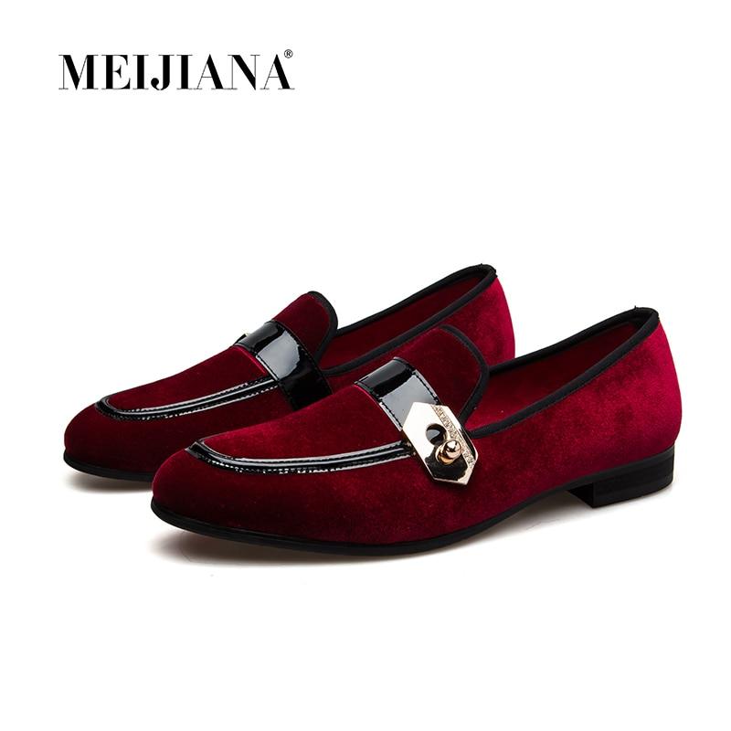 MeiJiaNa แฟชั่นสไตล์ฤดูใบไม้ร่วง Men Loafers คุณภาพสูงรองเท้าหนังแท้รองเท้าผู้ชายรองเท้าโลหะหัวเข็มขัดรองเท้าสีแดง-ใน รองเท้าลำลองของผู้ชาย จาก รองเท้า บน   1
