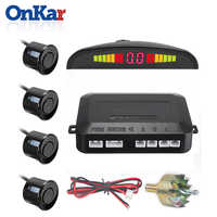 ONKAR Parktronics Car Auto Parking Sensors LED Monitor Sytem Reverse Backup  Radar Display Sound 4 Sensors 12V Head Unit