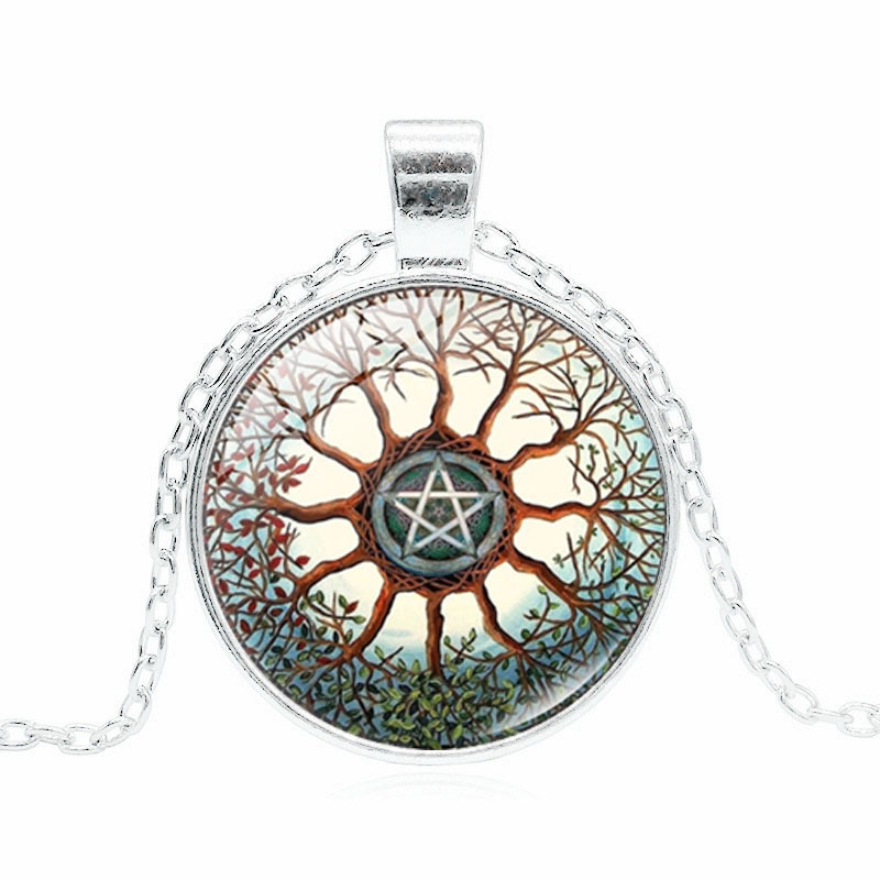 NEW Cabochon Glass necklace Silver woman pendants(celtic Tree of life