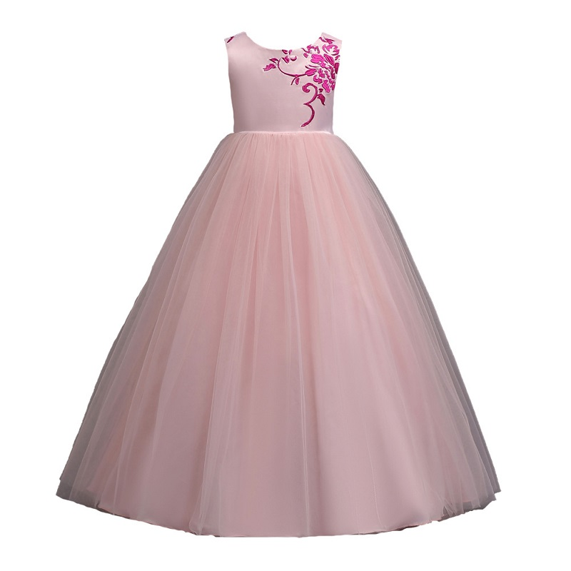 summer Wedding Children clothing Embroidery Flowers Princess Long Dresses Eveving Party for Wedding Girls Dress Kids clothes
