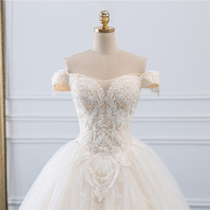 Image 4 - Fansmile Vintage Princess Ball Gown Quality Tulle Wedding Dress 2020 Customized Plus size Lace Wedding Bride Dresses FSM 518F