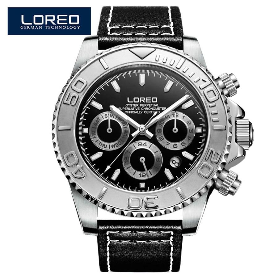 ca3f7996804 LOREO Clássico Mostrador Preto Luminosa Movimento Gaivota Relógio Mecânico  Automático Couro Genuíno Mens Relógios Top Marca