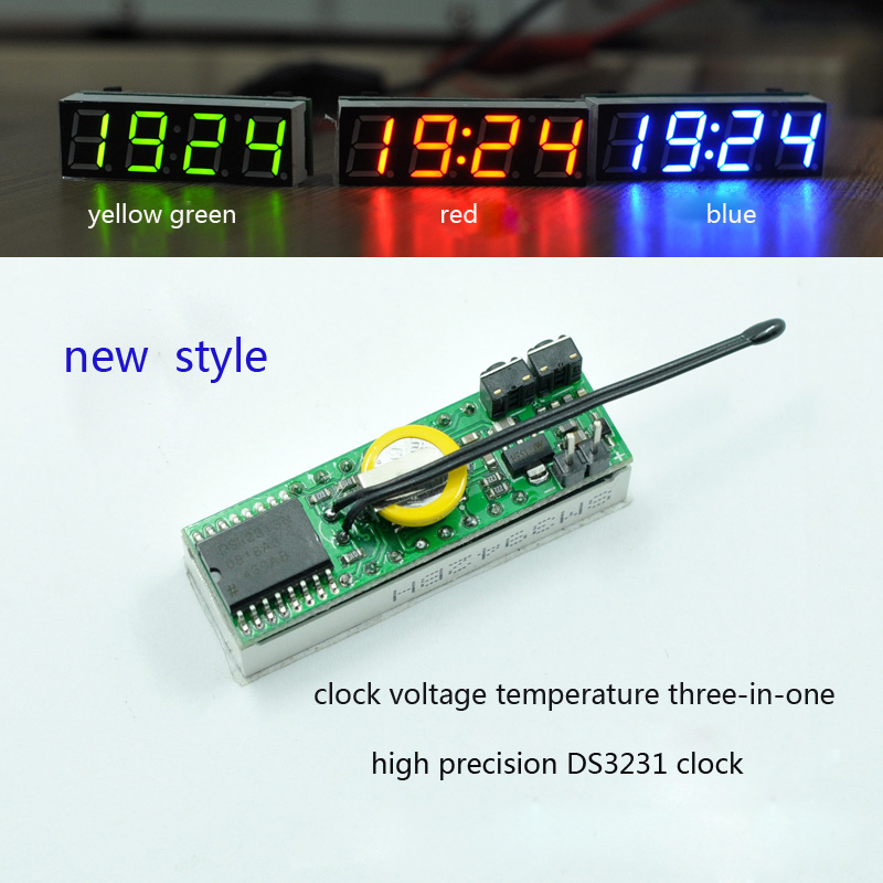 Free Shipping 3 In 1 LED Digital Clock Temperature Voltage Module DIY Time Thermometer Voltmeter DC 5-30V RX8025T ic jiahui diy 0 36 3 digit led digital voltmeter module black green white 4 30v