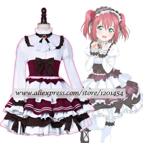 LoveLive Sunshine Aqours Kurosawa Ruby Maid Servant Lolita Dress Cosplay Costume