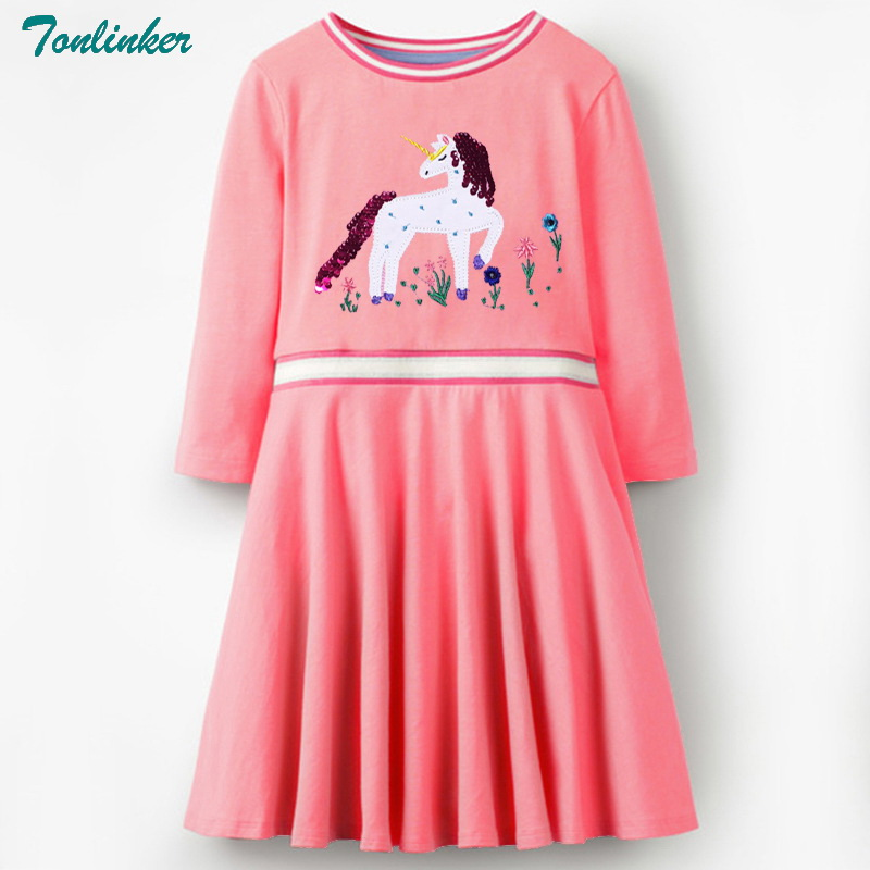 2018 New Long Sleeve Flower Girls Dresses With Animal Unicorn Girl Clothing Children Costume Kids Princess Clothes 2-10 Year
