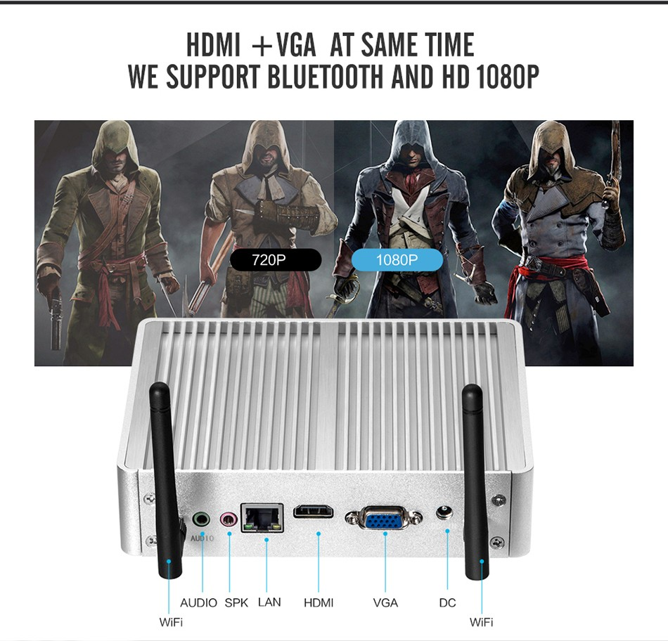 Fanless Mini PC for Windows with Dual Output Display and WiFi 12