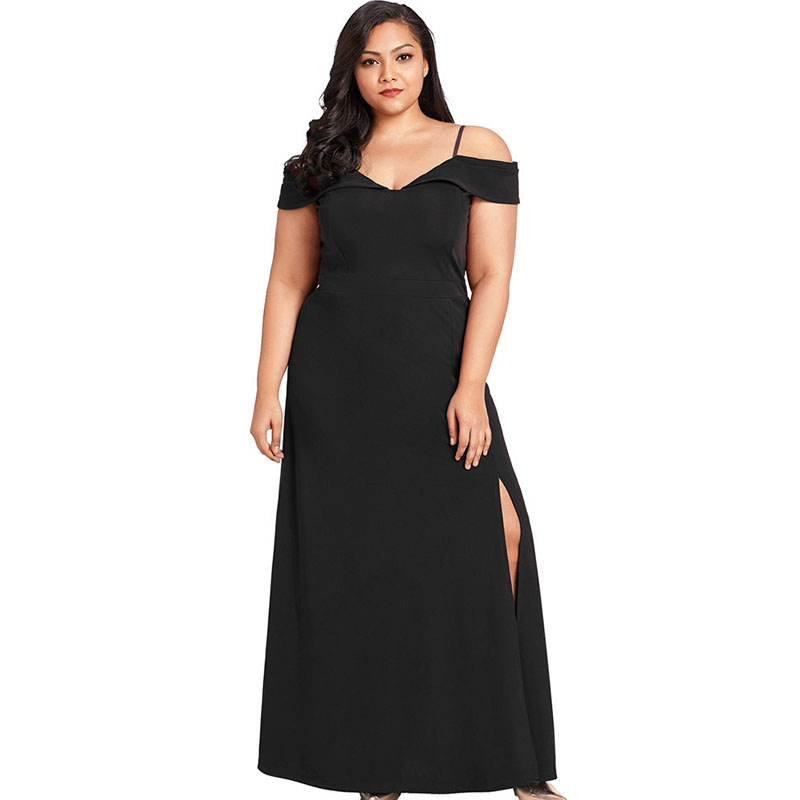 Womens V Neck Stylish Sling Oversized Maxi Dresses Sexy Split Off Shoulder Black Slim Formal Party Gown Dress For Ladies 2019