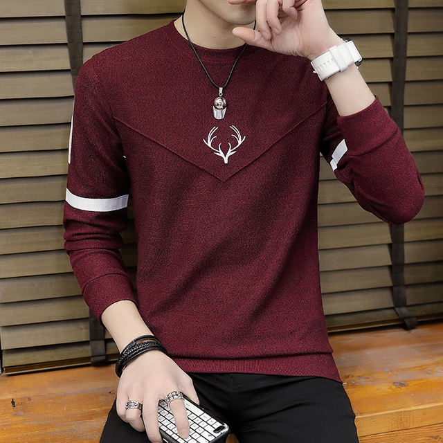 men sweater fashion  thin knitting render printed stripe unlined upper garment of cultivate one 's morality sweater 1