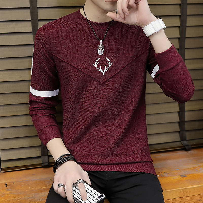 Men Sweater Fashion  Thin Knitting Render Printed Stripe Unlined Upper Garment Of Cultivate One 's Morality Sweater