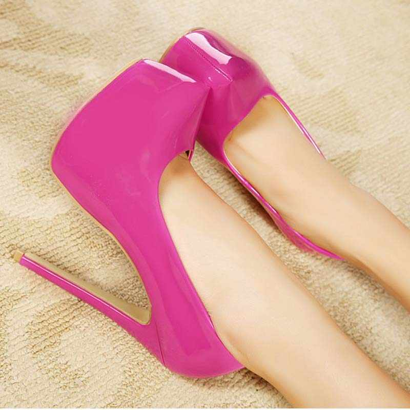 women fashion patent leather pump sexy ultra high heels party wedding platform pumps stiletto heeled ladies plus size 35-44 shoe