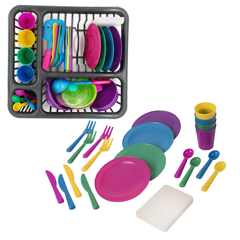 MrY 28 Pcs/set Children Play Pretend Toys Kitchen Cooking Tableware Playset Sink Dishes Play House Early Learning Toys