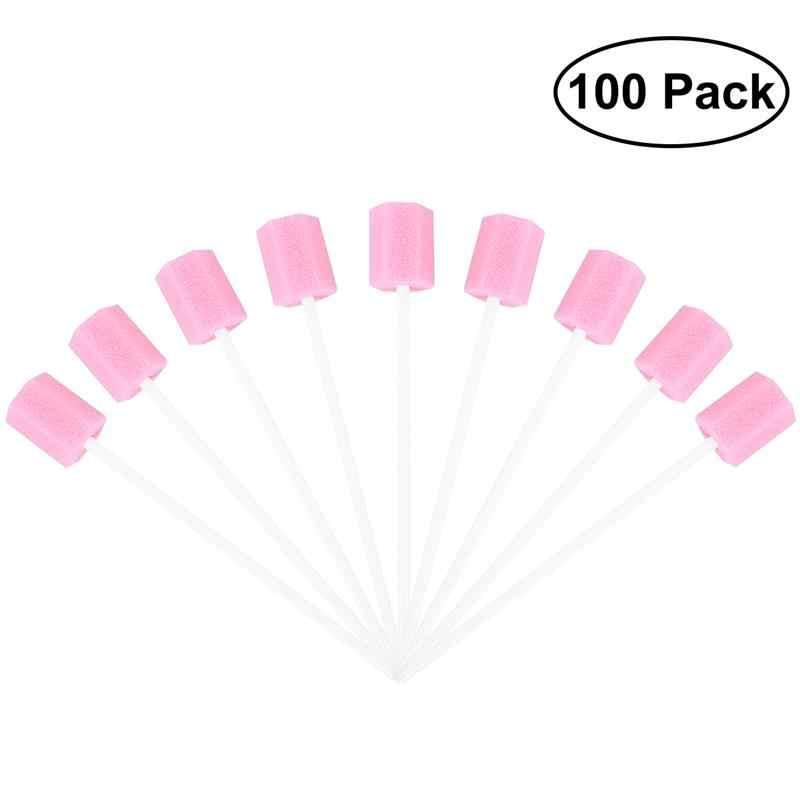 100 Pcs Disposable Oral Care Spons Swab Pembersih Gigi Mulut Penyeka (Merah Muda)