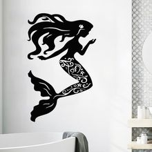 Vinyl Wall Decal Mermaid Sea Shells Nautical Sticker Home Bathroom Decor Beauty Style Wallpaper Art AY340