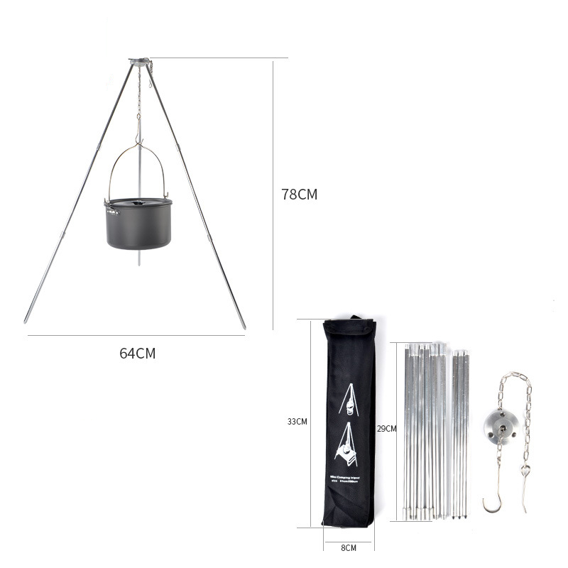 Image 5 - VILEAD Camping Picnic Tripod Hanging Pot Durable Portable Campfire Picnic Cast Iron Pot Grill Hanging Outdoor Cooking Tripod-in Camping Cookware from Sports & Entertainment