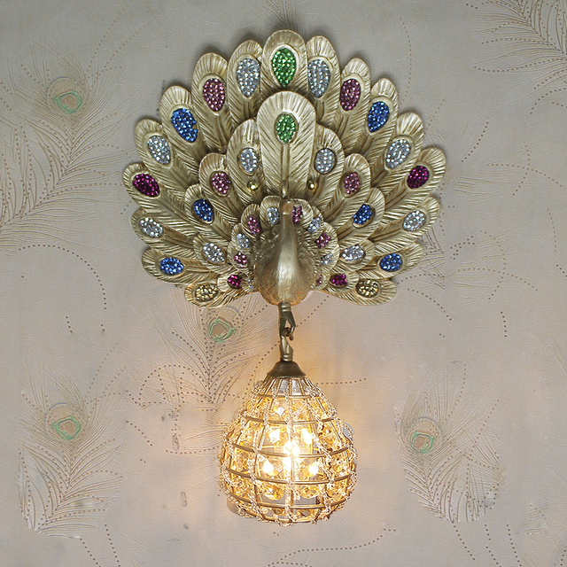 Southeast The Peacock Lamp Crystal Hand Woven Cover The Living Room Bedroom  Aisle Wall Lamp Wall