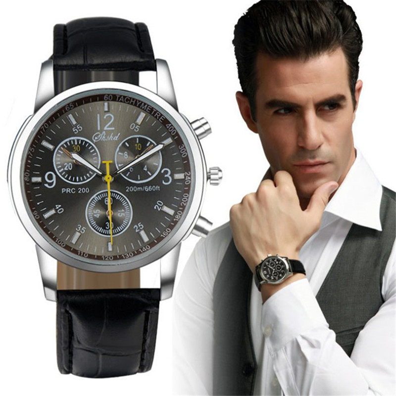 2017 Durable Male Clock Watches Fashion relogio masculino Watch Men Round Faux Leather Men Blue Ray Black Glass Quartz Watches