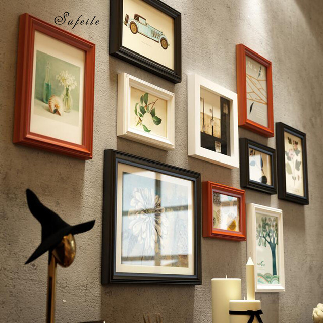 SUFEILE  European solid wood photo frame living room wall Photo  creative combination solid wood frame wall decoration D50
