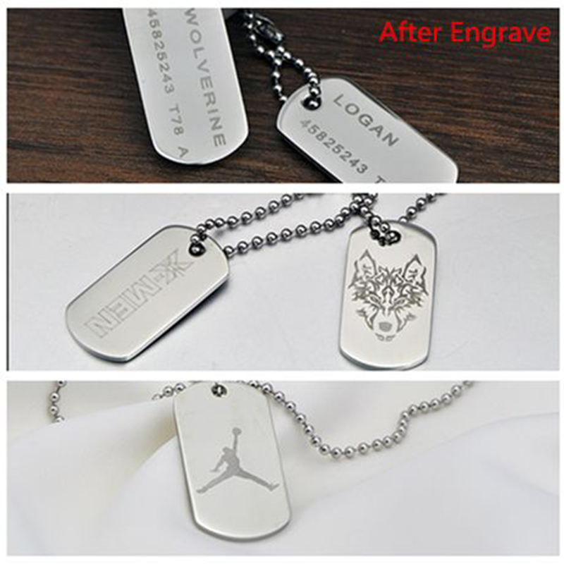 3bf583d922 GAGAFFEL Custom Engraved Necklace Stainless Steel Dog Tag Necklace Army  Military Card Pendant Necklaces Silver Love Choker-in Pendant Necklaces  from Jewelry ...