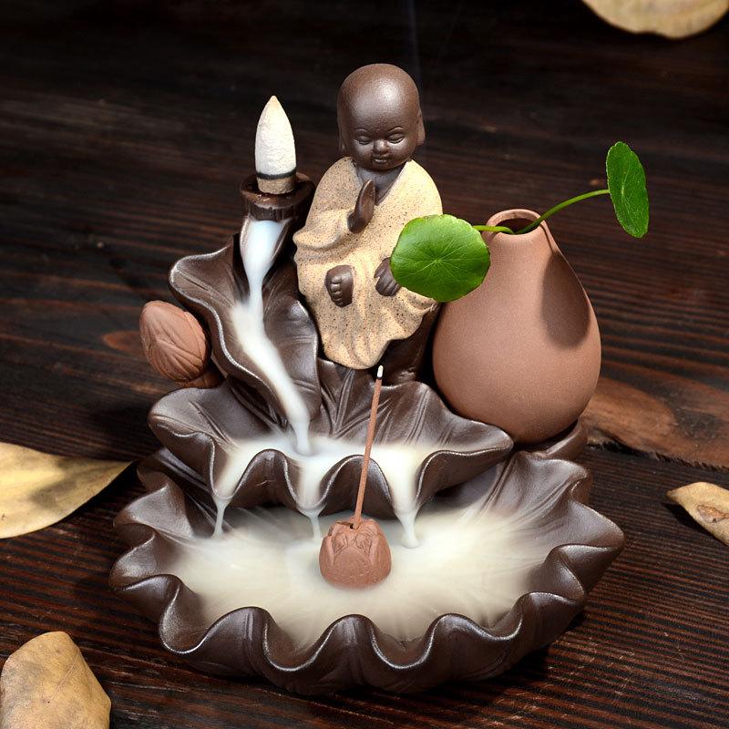 1 pz creativo meditazione monaco riflusso bruciatore di incenso coni complementi arredo casa bastone di incenso censer l'uso in casa sala da tè argilla viola