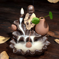 1Pcs Creative Meditation Monk Backflow Incense Cones Burner Home Decor Incense Stick Censer Purple Clay Use In Home Teahouse