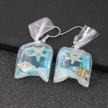 Grappige Bag Vorm Fashion Charms Oorbellen Cartoon Hars Goudvis Imitatie Water Dangle Earings Wedding Jewelry Women Marine Conch