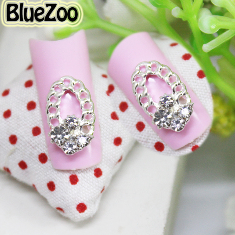 BlueZoo 10 pcs Oval Design Silver Alloy Nail Art Decoration Transparent Rhinestone Beauty Nails Make Up Supplies Tips 13mm * 8mm