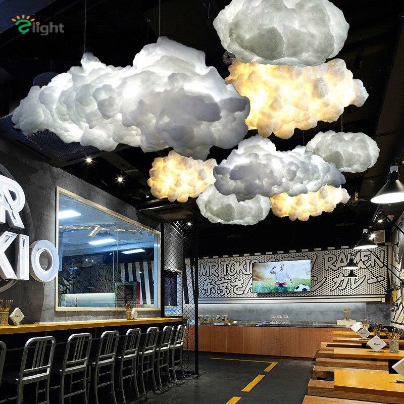 Postmodern Floating Cloud Led Pendant Lights White Silk Dining Room Led Led Pendant Lamp Bedroom Led Pendant Light Fixtures