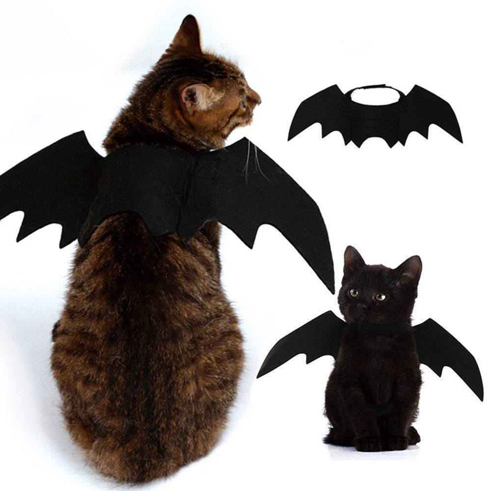 Pet Cat Costumes Bat Wings Vampire Black Cute Fancy Dress Up Pet Dog Cat Halloween Costume Gift