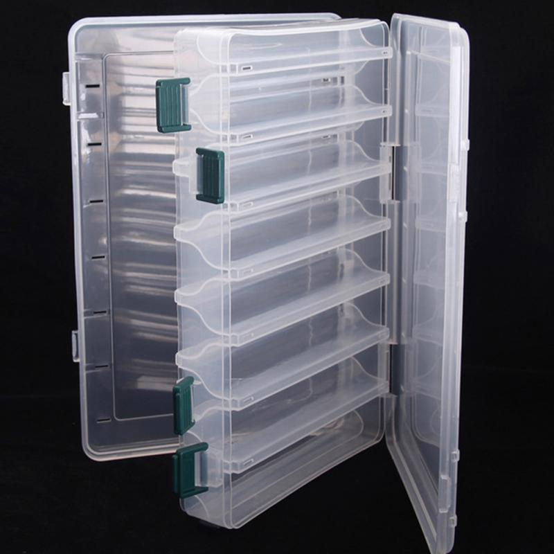 Double sided High Quality Fishing Box Spinner Bait Minnow Popper 14 Compartments Fishing Tackle Box