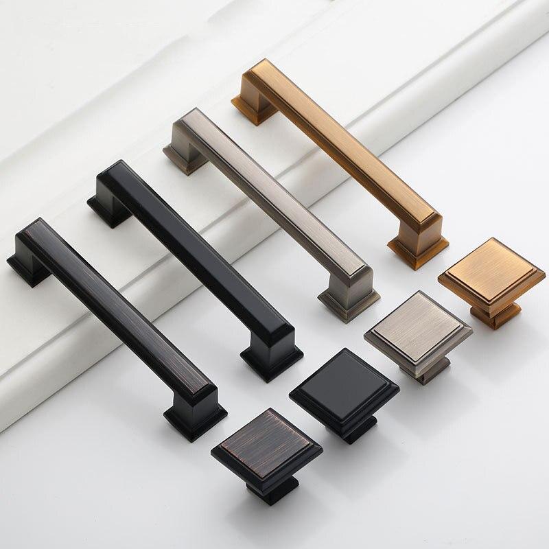 Matte Black Zinc Alloy Security Door Handles Cabinet Door Handle Modern High-End Drawer Flush Handles Hardware Accessories